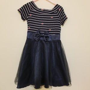 PopReal Girl's Sz 5 Navy Wide Neck Dress
